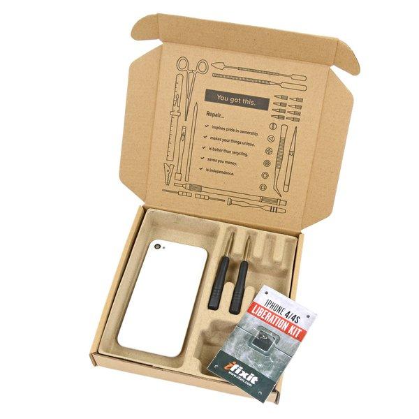 iPhone 4 (CDMA/Verizon) Blank Rear Glass Panel / Fix Kit / White