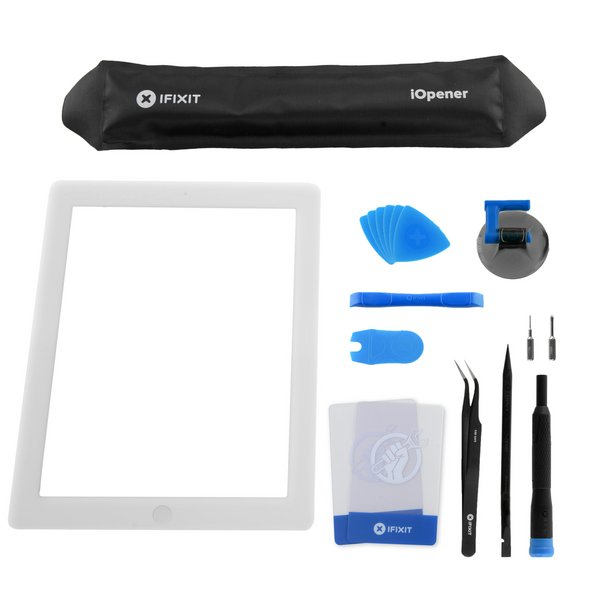 iPad 4 Front Glass/Digitizer Touch Panel Full Assembly / All-New / Fix Kit / White