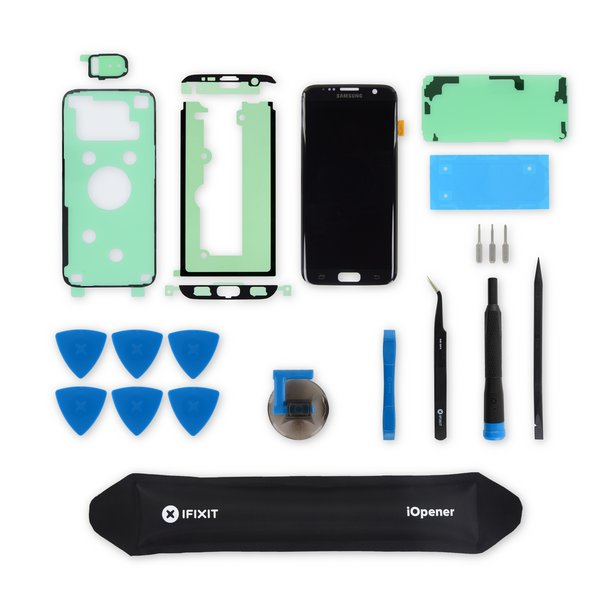 Galaxy S7 Edge Screen / Black / Fix Kit