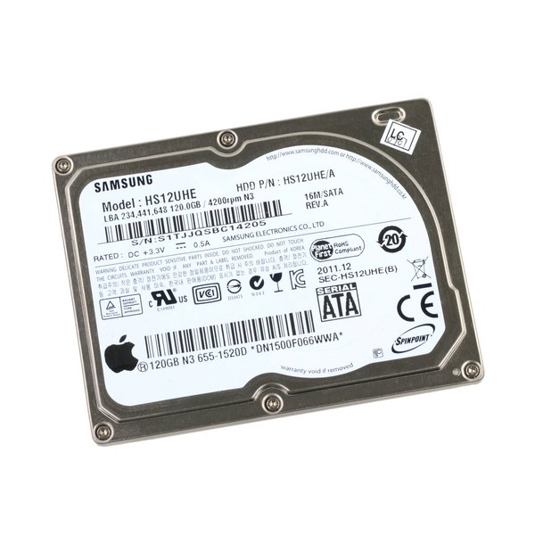 MacBook Air (Late 2008-Mid 2009) 120 GB Hard Drive / Without Padding