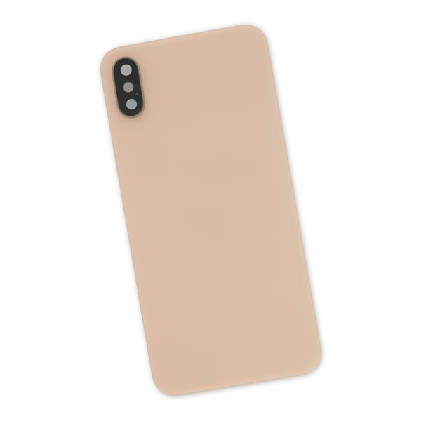 iPhone XS Aftermarket Blank Rear Glass Panel with Lens Cover / Gold