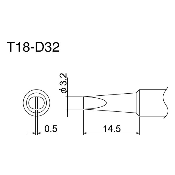 Hakko T18 Series Tips / Large Chisel / T18-DL32