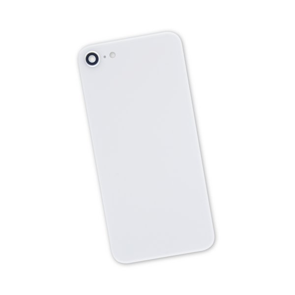 iPhone 8 Aftermarket Blank Rear Glass Panel with Camera Lens / White