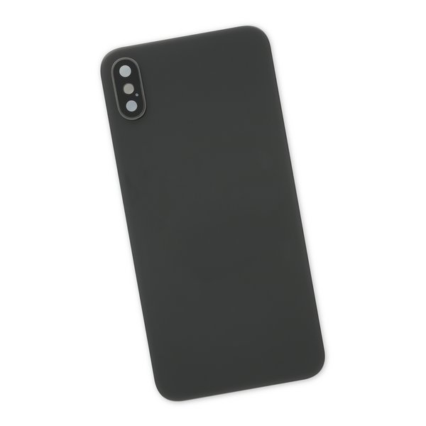 iPhone XS Aftermarket Blank Rear Glass Panel with Lens Cover / Black
