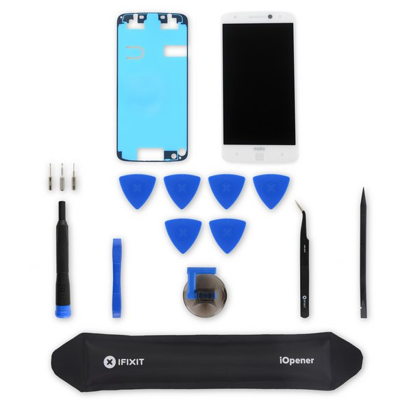 Moto Z Droid Screen and Digitizer / White / Fix Kit