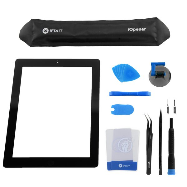 iPad 4 Front Glass/Digitizer Touch Panel Full Assembly / All-New / Fix Kit / Black