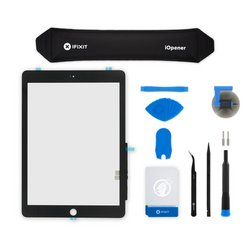 iPad 6 Screen Digitizer / Fix Kit / Black / With Adhesive