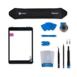 iPad mini 1/2 Screen / Fix Kit / Black / With Adhesive
