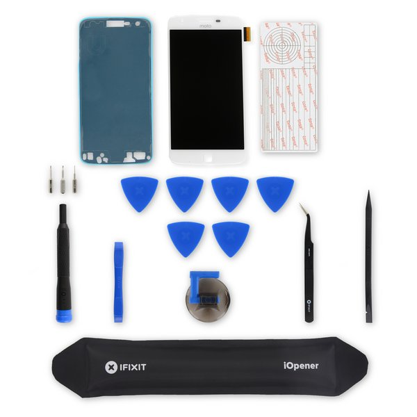 Moto Z Play Screen and Digitizer / White / Fix Kit