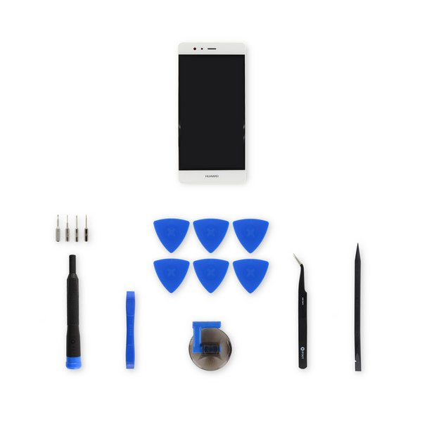 Huawei P9 LCD Screen and Digitizer Assembly / White / Fix Kit