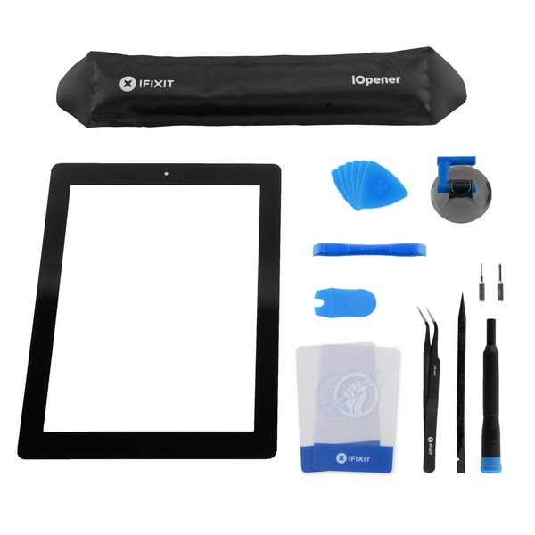 iPad 2 Front Glass/Digitizer Touch Panel Full Assembly / All-New / Fix Kit / Black