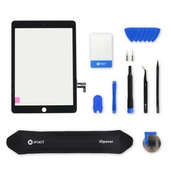 iPad 5 Screen / New / Fix Kit / Black / With Adhesive Strips