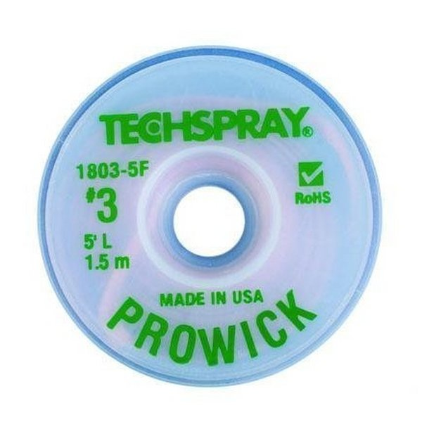 "Solder Wick Braid / ProWick #3 / Green / 0.075"" / 1.9 mm"
