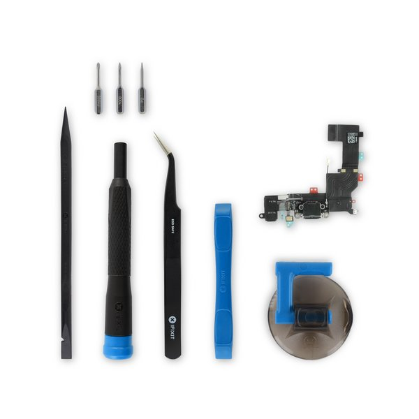 iPhone 5s Lightning Connector and Headphone Jack / New / Black / Fix Kit
