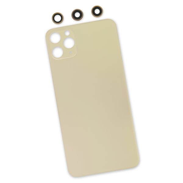 iPhone 11 Pro Max Aftermarket Blank Rear Glass Panel with Lens Covers / Gold