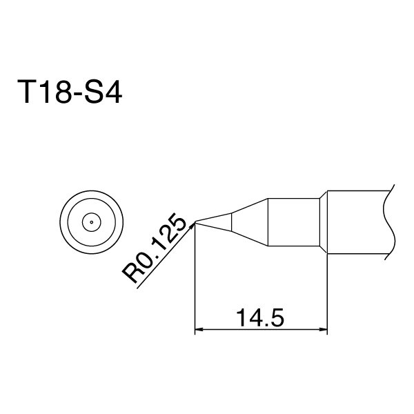 Hakko T18 Series Tips / .125 mm Pointed / T18-S4